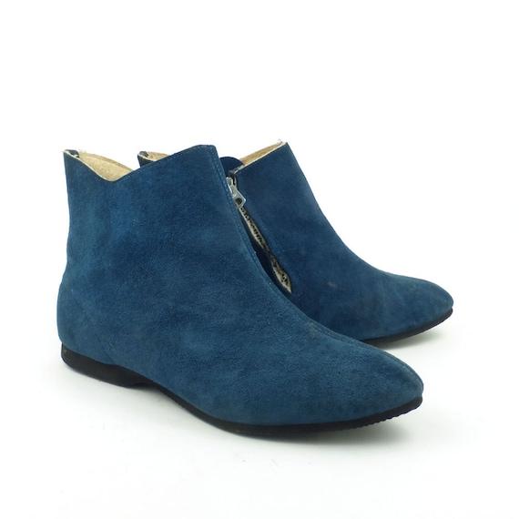 Blue Mod Boots Vintage 1960s Blue Suede shoes Ankl