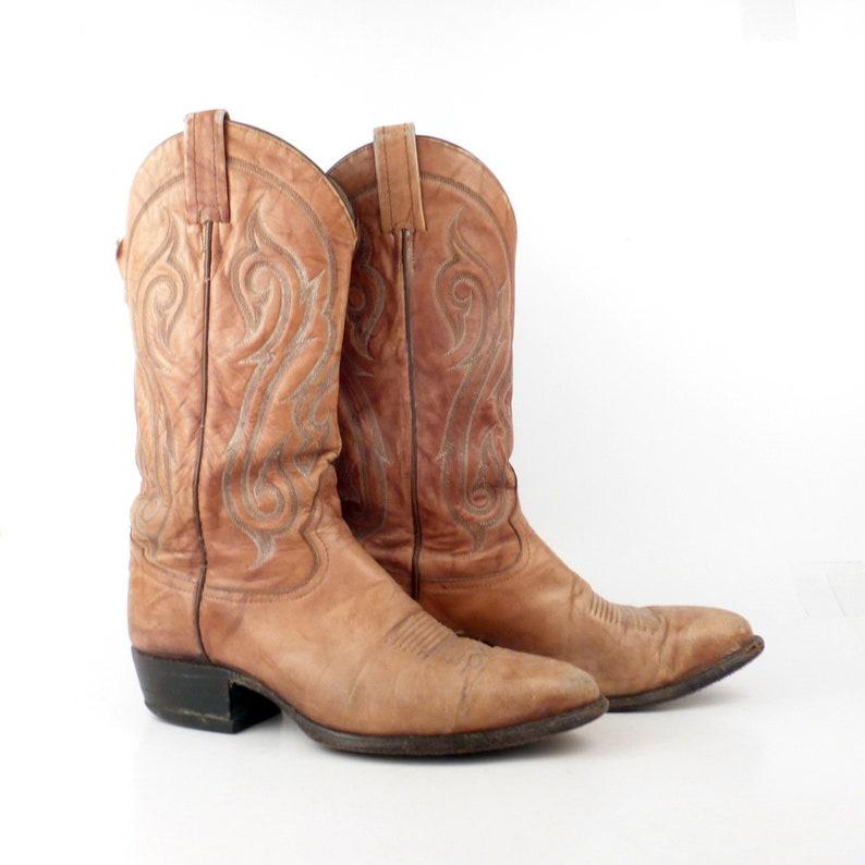 86276929e12 Cowboy Boots Vintage 1980s Tony Lama Leather Tan Brown Boots Men's size 8  1/2 D