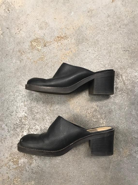 Black Mules Clogs Vintage 1990s Winklepicker West… - image 3