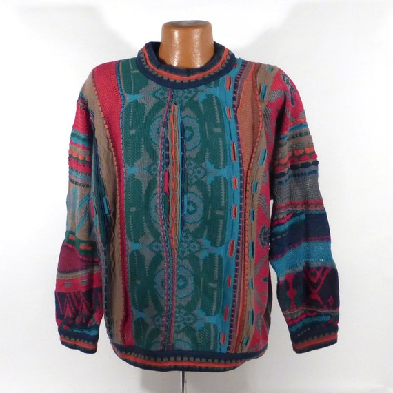 Coogi Sweater Jumper Vintage 1990s Blue Green Red