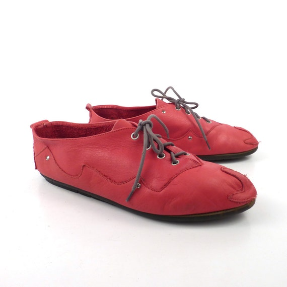 Red Oxford Shoes Vintage 1980s What S What Leather Lace Up