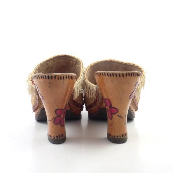 Wood Sandals Straw Vintage 1960s Woven High Heel … - image 4