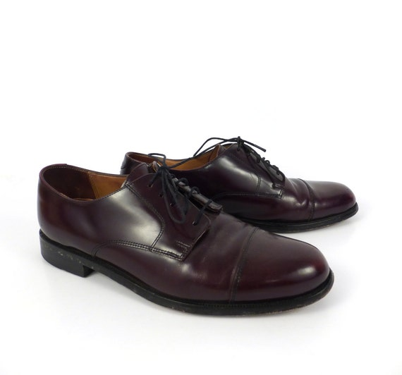 Burgundy Oxford Shoes Leather Vintage 1980s Men's