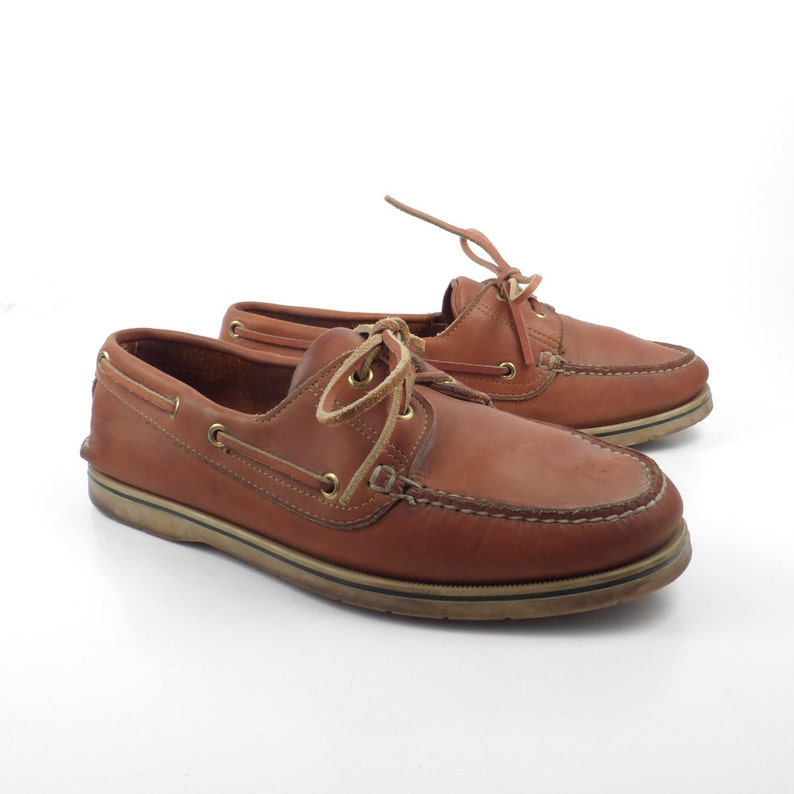 07908445545a Leather Boat Shoes Vintage 1980s Norsport Brown Lace up Boat