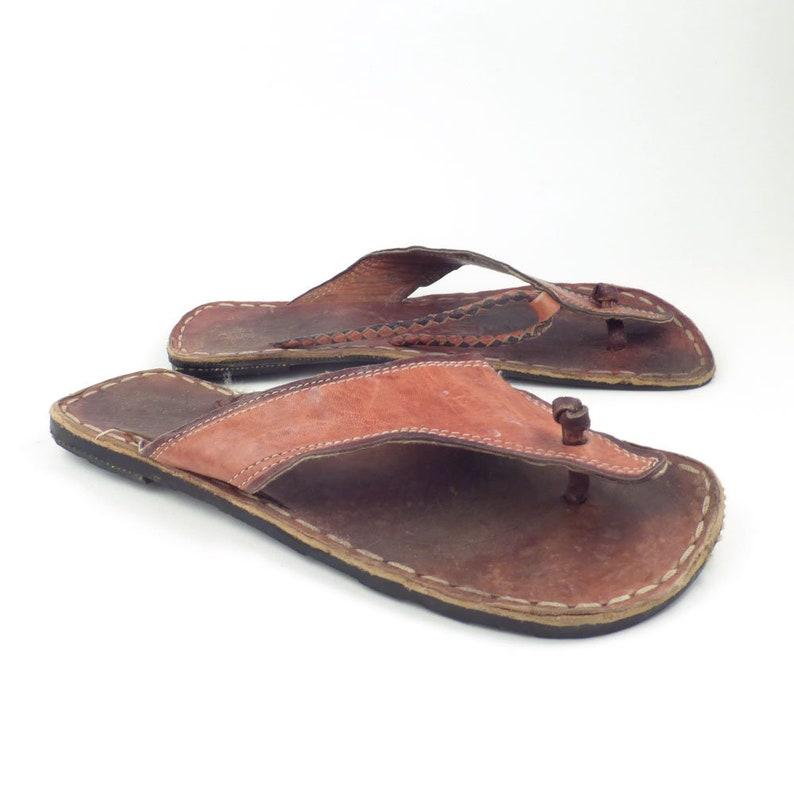 a6f1f797524e Vintage 1970s Leather Huarache Sandals With Tire Soles Flip