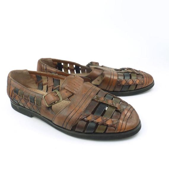 Huarache Sandals Vintage 1980s Mens Woven Leather