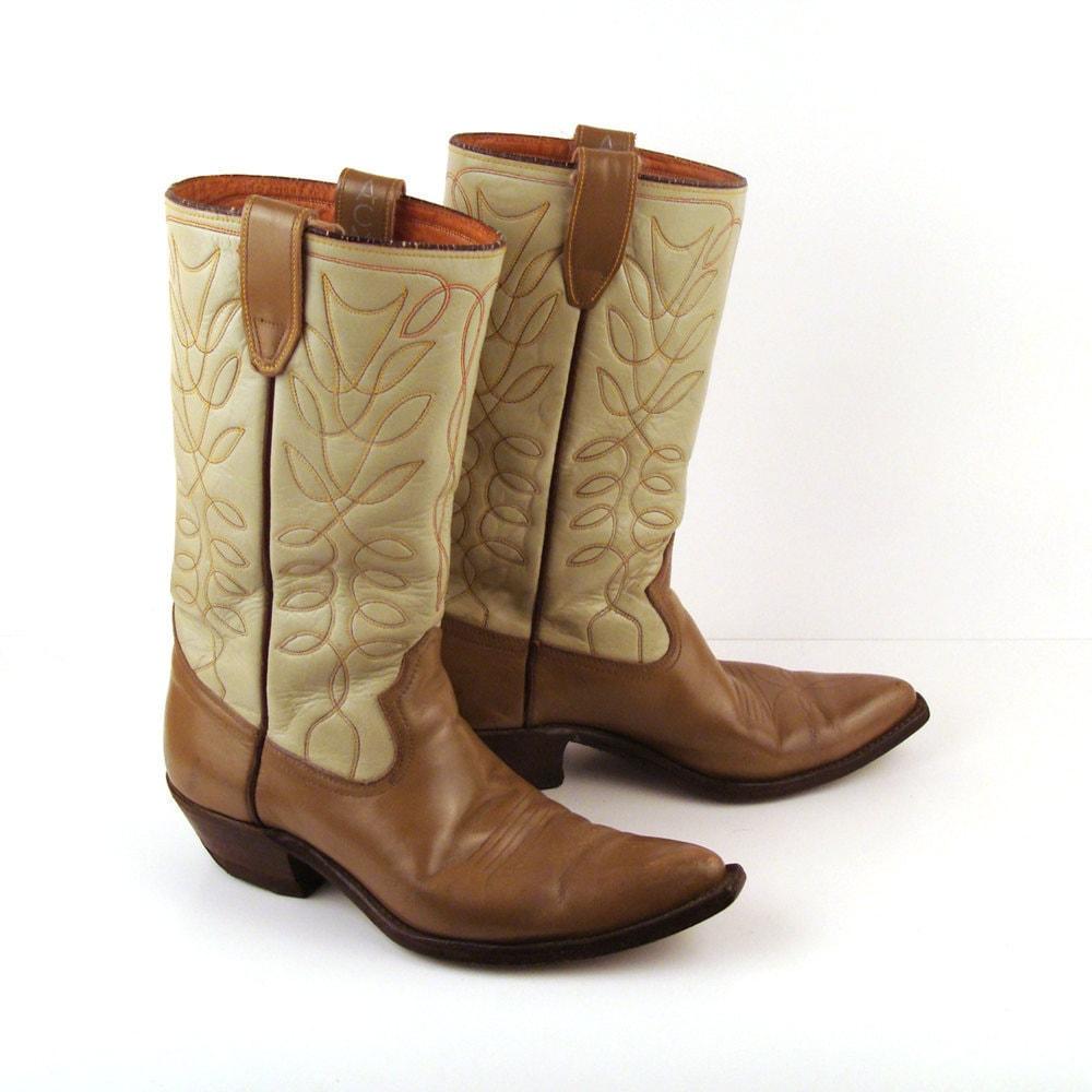 1950s Men's Ties, Bow Ties – Vintage, Skinny, Knit Vintage 1950S Acme Two Tone Tan Leather Cowboy Boot Mens 7 12 D Rr046 $158.99 AT vintagedancer.com