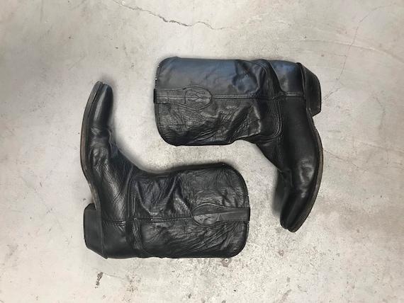 Men's Cowboy Boots 1980s Dingo Black Leather Boots