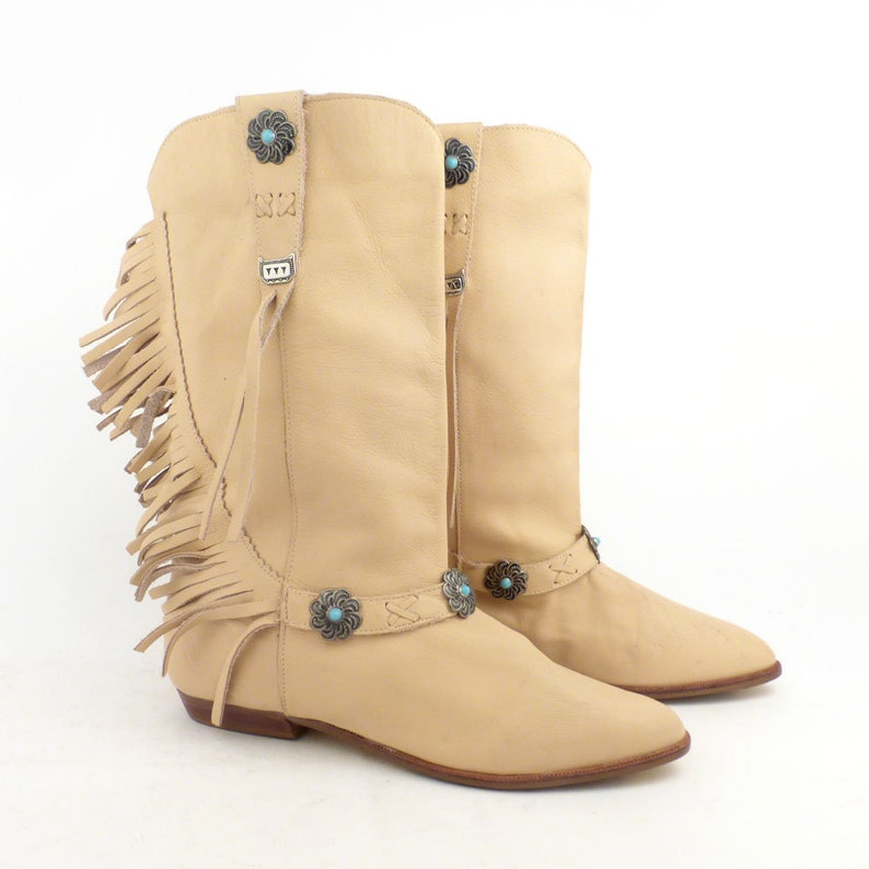 e3b92a4560c1a LJ Simone Boots Vintage 1980s Flat Leather Fringe Natural Tan Women's size 7
