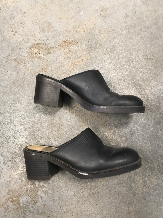 Black Mules Clogs Vintage 1990s Winklepicker West… - image 2
