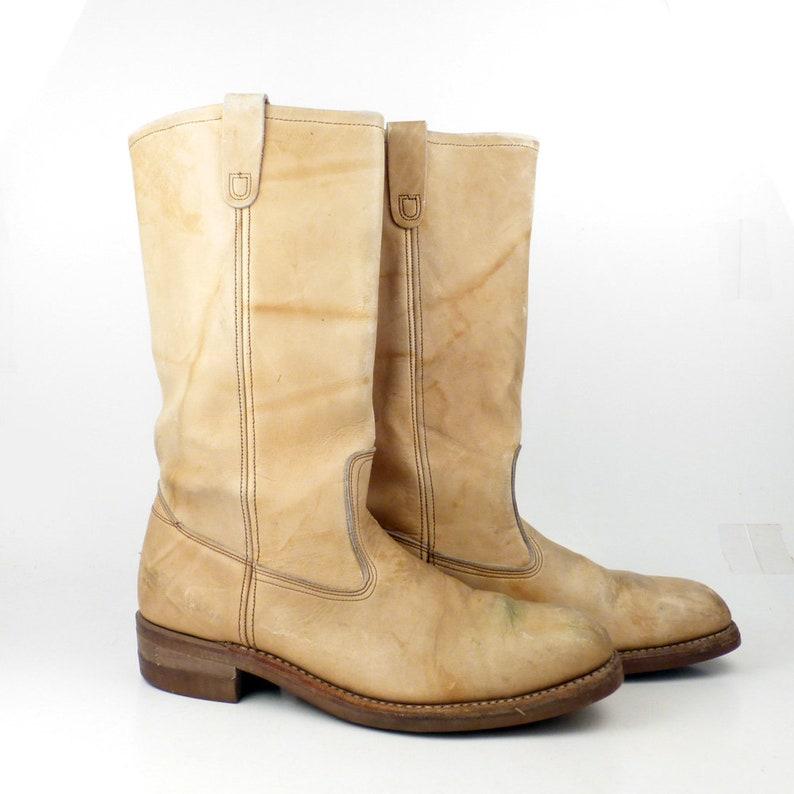 e9fe1a2e8d2f9 Campus Leather Boots Vintage 1970s Tan Natural Cowboy Men's size 9 1/2 D