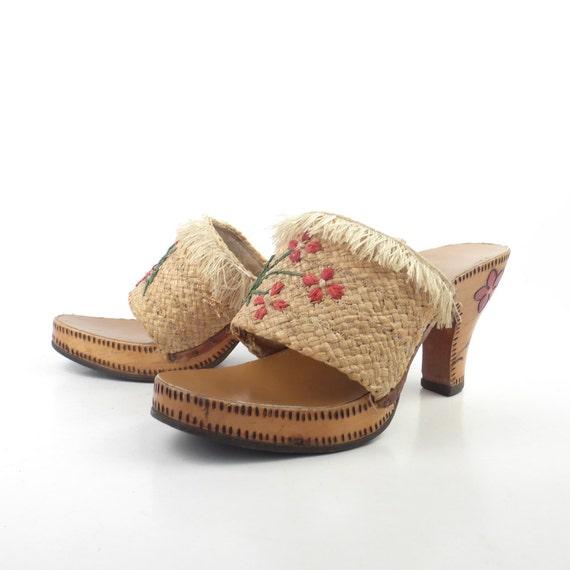 Wood Sandals Straw Vintage 1960s Woven High Heel … - image 3