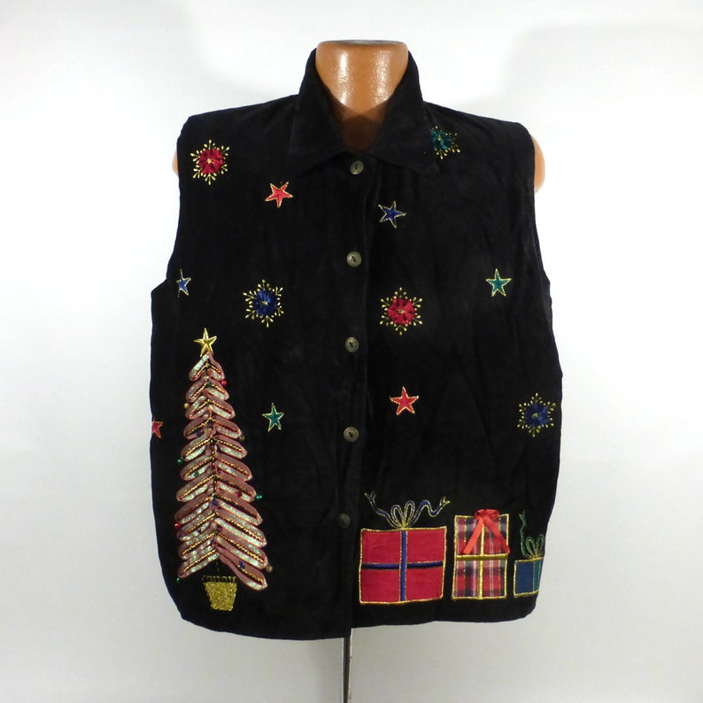 5e7341b1ded Ugly Christmas Sweater Vest Vintage Tacky Holiday Party