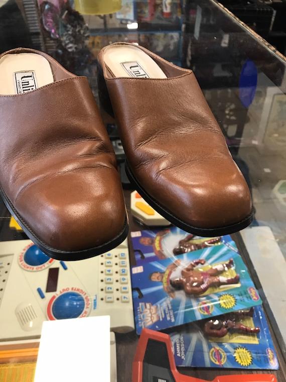 Brown Mules Clogs Vintage 1990s Winklepicker Unli… - image 3