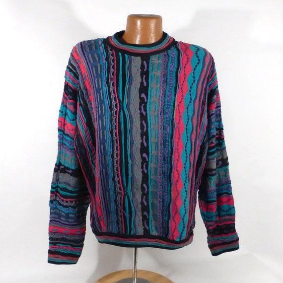 Coogi Sweater Jumper Vintage 1990s Blues Gray Blac