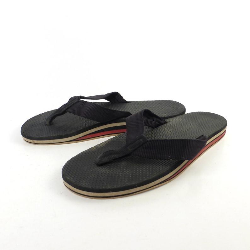 a2f1cd78ab38 1980s Flip Flops Vintage Sandals Red Gray Black Stripe Foam