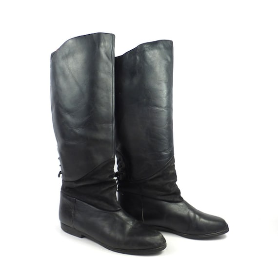 8c96a4aa73f Black Leather Boots Vintage 1980s Tall Flat Women's size 6