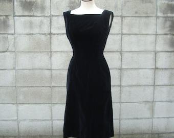 Anne Fogarty Dress 1950s Party Holiday Black Velvet