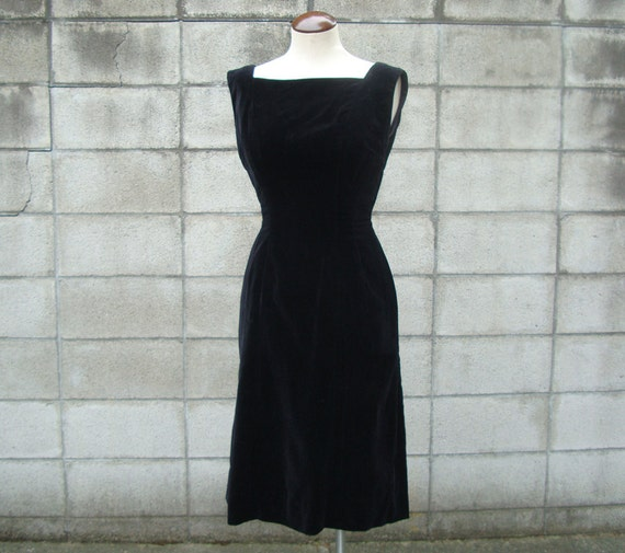 Anne Fogarty Dress 1950s Party Holiday Black Velve