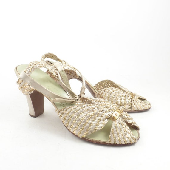 Debutante Heels Shoes Vintage 1940s White and Gold