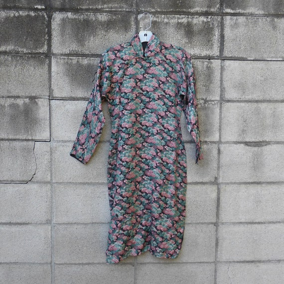 Asian Brocade Dress 1950s Dress Wiggle Black