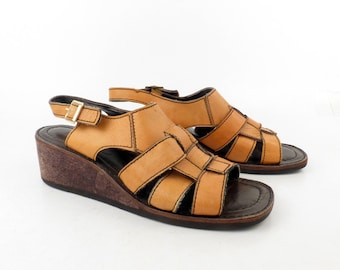 Wedge Platform Sandals Vintage 1970s Cork Arpeggios Brown Leather Women's size 8 1/2 N