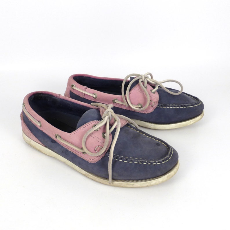 d1813850e39f Boat Shoes Vintage 1990s Chatham Pink and Blue Deck Leather
