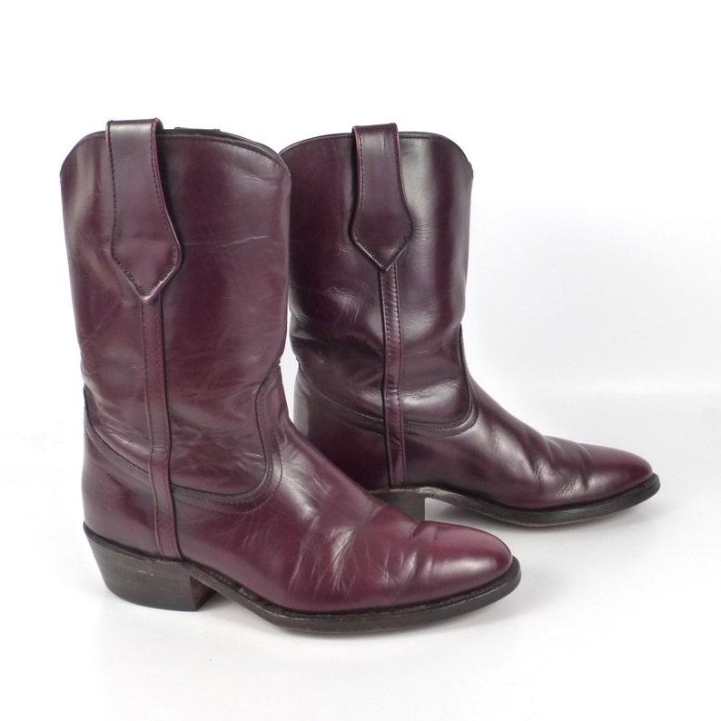 Frye Cowboy Boots Vintage 1980s Western Burgundy Mens size 7 image 1