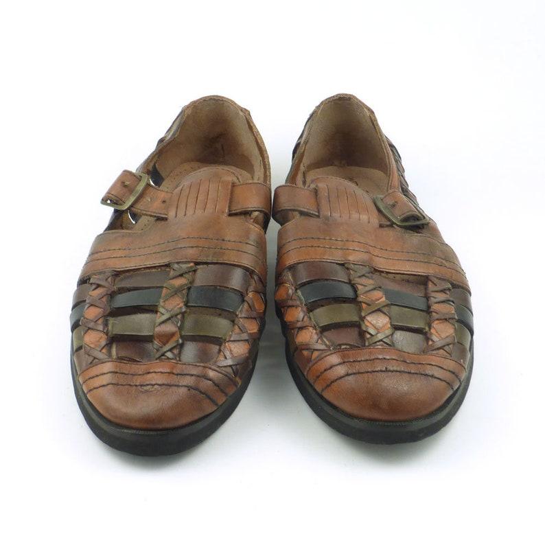 0ace6878bd1c8 Huarache Sandals Vintage 1980s Mens Woven Leather Huarache Size 9