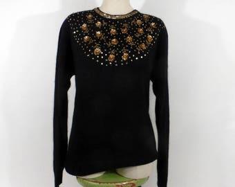 Gem Sequin Sweater Vintage 1980s Knit Black Gold Beaded Size L