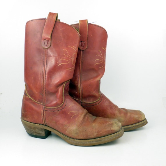 Campus Leather Boots Vintage 1970s Reddish Brown L