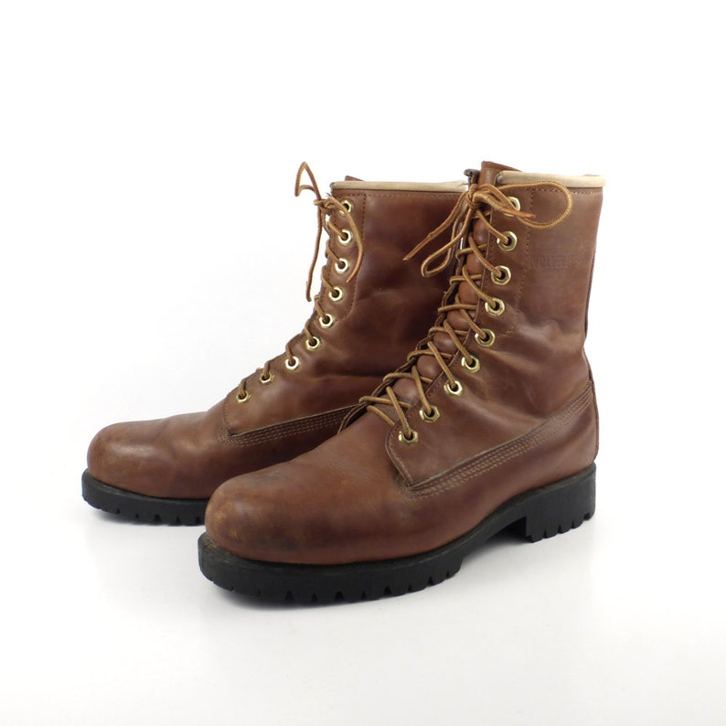 dbd3aa562c8 Wolverine Boots 1980s Brown Lace Up Leather men's size 6 1/2
