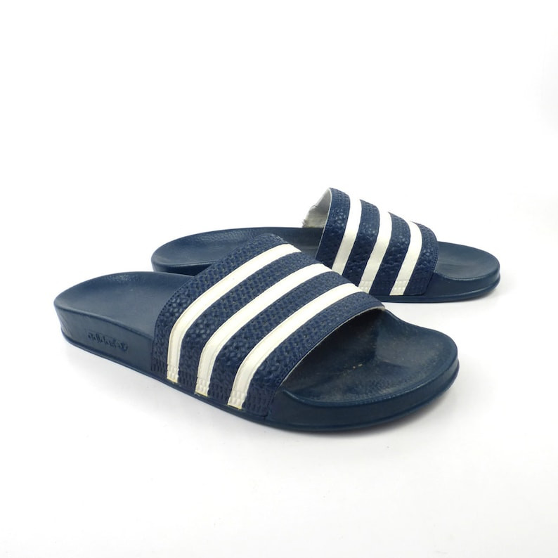 16388a368c74 Adidas Sandals Vintage 1990s Shoes Slides Stripe Rubber Soccer