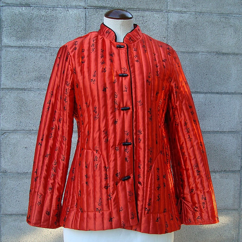70s Quilted Jacket Vintage 1970s Shiny Red Chinese Characters image 0