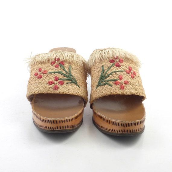 Wood Sandals Straw Vintage 1960s Woven High Heel … - image 2