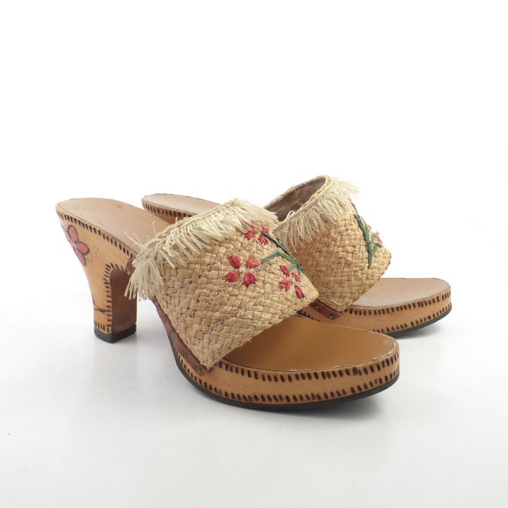 Wood Sandals Straw Vintage 1960s Woven High Heel W