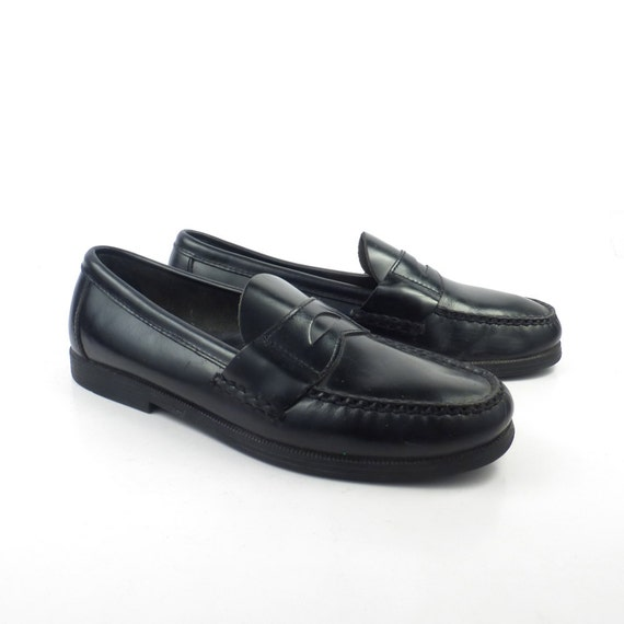 Sperry Topsiders Loafers Vintage 1980s Black Penny Shoes Dress Men's size 6 M