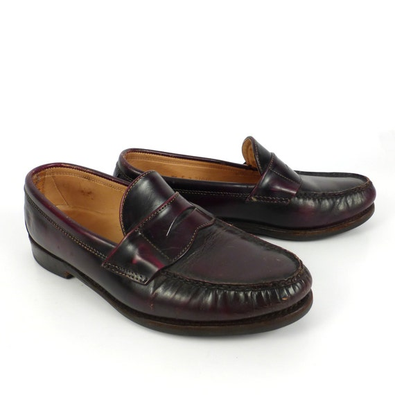 9f64b3d3e6b Frye Penny Loafers Vintage 1980s Shoes Burgundy Brown Leather