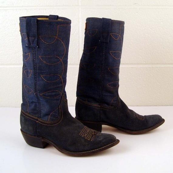 Denim Cowboy Boots Vintage 1970s Denim  Acme Blue
