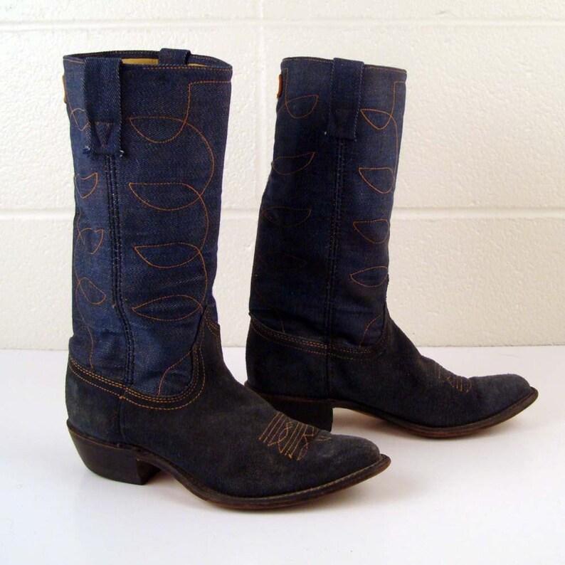 a1d62dcfdd5 Denim Cowboy Boots Vintage 1970s Denim Acme Blue Suede Leather Stacked Heel  Cowboy Boots Men's 5 1/2