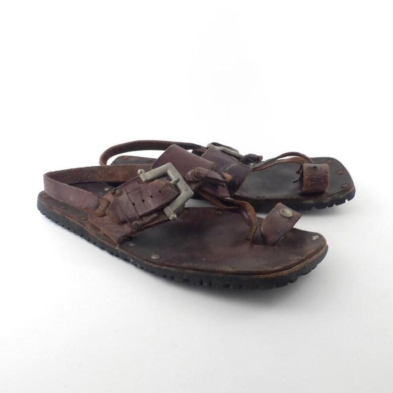 f1e6e1e45779 Men s Leather Sandals Vintage 1970s Woven Leather Hippy