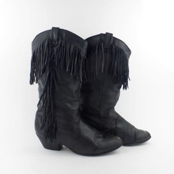 Vintage 1980/'s BOOTS COWGIRL GENUINE  Boots Fringes Cowboy Boots Western Native American Country Womens Indiennes Western