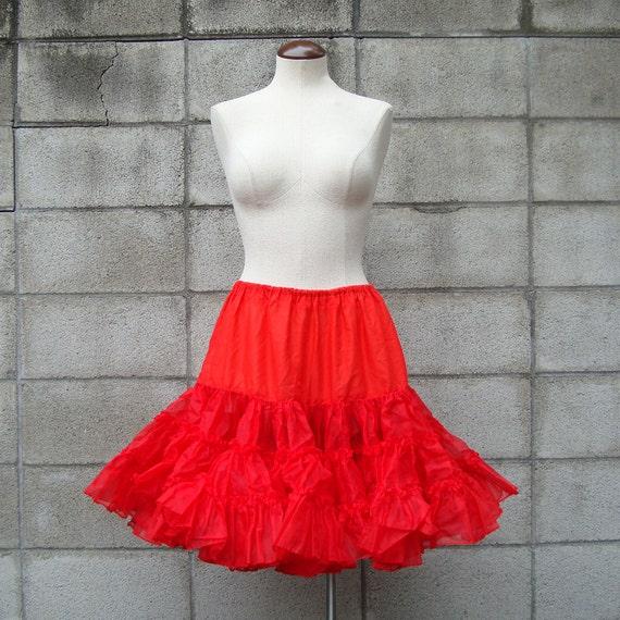 Red Crinoline Vintage Full Crinoline Petticoat
