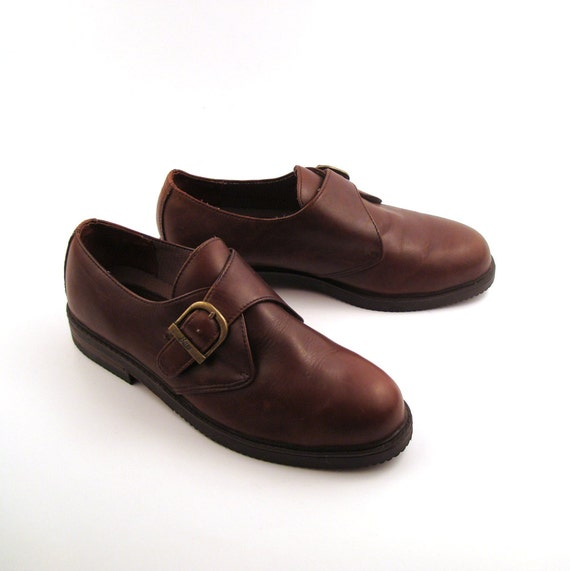Bass Shoes Oxfords Vintage 1980s Brown Shoes Men's