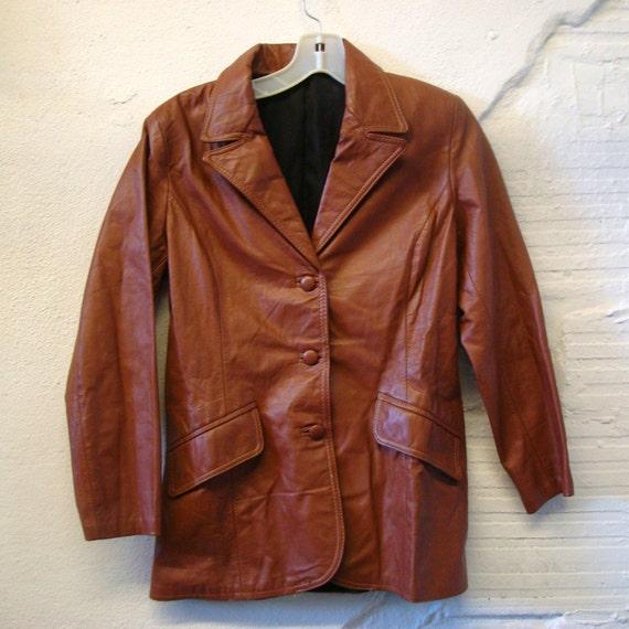 Leather Jacket Coat Vintage 1970s Rust  Brown Blaz