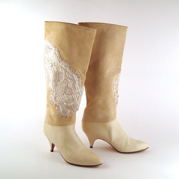 White Vintage Boots 1980s High Heel Phyllis Poland