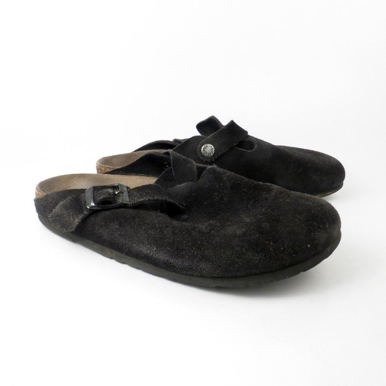 fe1f87925ab2 Birkenstock Sandals Vintage 1990s Suede Black Clogs Boston