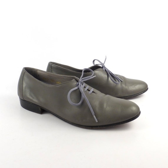 Gray Leather Shoes Vintage 1980s Oxfords Hippopota