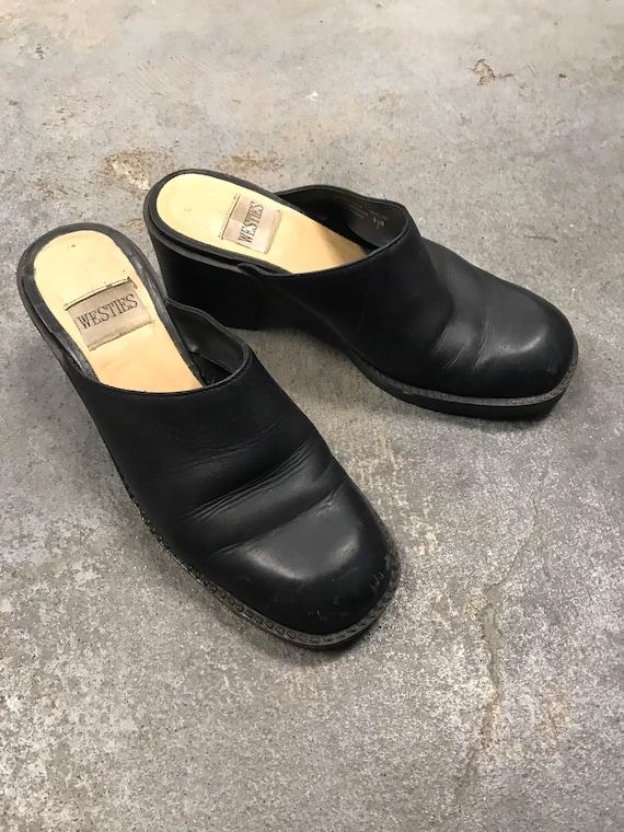 Black Mules Clogs Vintage 1990s Winklepicker West… - image 1