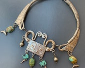 MASSIVE Vintage Egyptian Revival Necklace .Silver Turquoise Bib Torque Necklace . Art Deco Egyptian Jewelry
